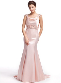 Trumpet/Mermaid Cowl Neck Sweep Train Charmeuse Prom Dress With Lace Beading