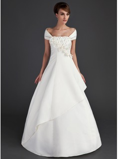 A-Line/Princess Off-the-Shoulder Floor-Length Satin Wedding Dress With Ruffle Beadwork Flower(s) Sequins