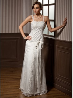 A-Line/Princess Sweetheart Floor-Length Satin Tulle Wedding Dress With Lace Beading Bow(s)