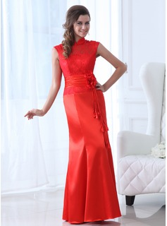 Trumpet/Mermaid High Neck Floor-Length Satin Lace Mother of the Bride Dress With Ruffle Flower(s)