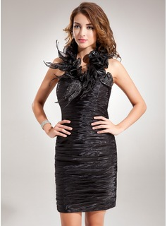 Sheath Halter Short/Mini Organza Cocktail Dress With Ruffle Sequins