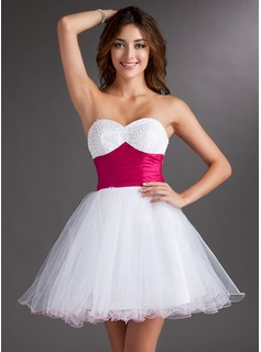 Empire Sweetheart Short/Mini Taffeta Tulle Homecoming Dress With Sash Beading