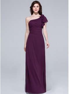 A-Line/Princess One-Shoulder Floor-Length Chiffon Bridesmaid Dress With Beading Flower