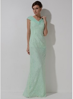 Sheath/Column Off-the-Shoulder Floor-Length Chiffon Lace Mother of the Bride Dress With Ruffle
