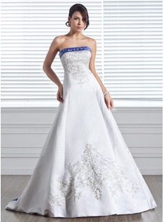A-Line/Princess Strapless Court Train Satin Wedding Dress With Embroidery Sash Beading