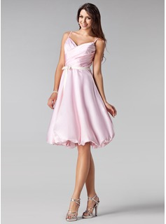 A-Line/Princess Sweetheart Knee-Length Charmeuse Bridesmaid Dress With Ruffle Sash (007020678)