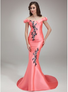Mermaid Off-the-Shoulder Sweep Train Satin Prom Dress With Beading Appliques Sequins