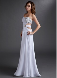 A-Line/Princess Strapless Floor-Length Chiffon Evening Dress With Ruffle Beading (017016721)