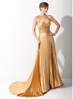 A-Line/Princess One-Shoulder Court Train Tulle Charmeuse Prom Dress With Ruffle Appliques (018015060)