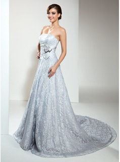 A-Line/Princess Strapless Chapel Train Satin Lace Wedding Dress With Beadwork