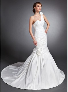 Trumpet/Mermaid Sweetheart One-Shoulder Court Train Taffeta Wedding Dress With Ruffle Flower(s)