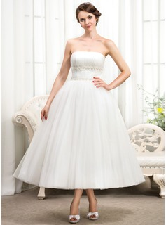 Ball-Gown Strapless Tea-Length Tulle Wedding Dress With Ruffle Beading Appliques Lace Sequins