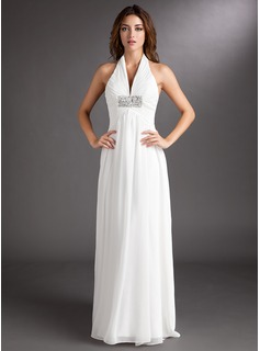 A-Line/Princess Halter Court Train Chiffon Wedding Dress With Ruffle Beading