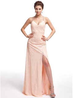 Sheath Sweetheart Floor-Length Sequined Prom Dress