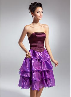 A-Line/Princess Strapless Knee-Length Organza Satin Cocktail Dress With Beading