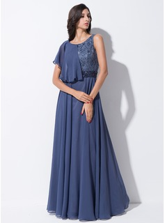 A-Line/Princess Scoop Neck Floor-Length Lace Satin Chiffon Evening Dress With Beading Sequins