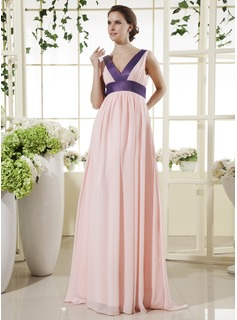 Empire V-neck Floor-Length Chiffon Maternity Bridesmaid Dresses With Sash