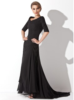 A-Line/Princess Off-the-Shoulder Sweep Train Chiffon Evening Dress With Ruffle (017020812)