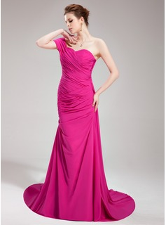 Mermaid One-Shoulder Court Train Chiffon Evening Dress With Ruffle (017019747)