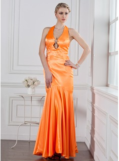 Trumpet/Mermaid Halter Floor-Length Charmeuse Holiday Dress With Crystal Brooch