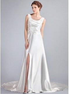 A-Line/Princess Cowl Neck Watteau Train Charmeuse Lace Wedding Dress With Ruffle Beading Split Front