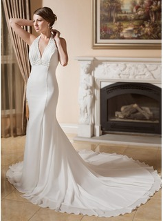 Trumpet/Mermaid Halter Chapel Train Chiffon Wedding Dress With Ruffle Beading Appliques Lace