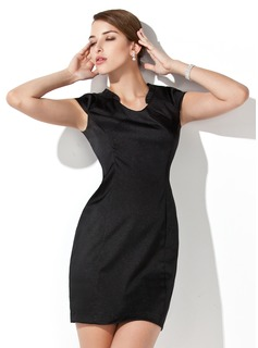 Sheath Scoop Neck Short/Mini Charmeuse Cocktail Dress (016013106)
