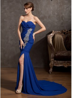 Mermaid Sweetheart Court Train Chiffon Evening Dress With Ruffle Beading