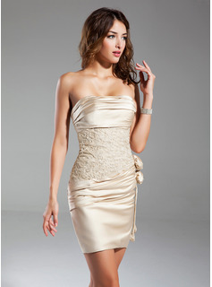 Sheath/Column Strapless Short/Mini Satin Cocktail Dress With Ruffle Beading Flower(s)