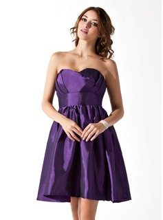 Empire Scalloped Neck Knee-Length Taffeta Homecoming Dress With Ruffle