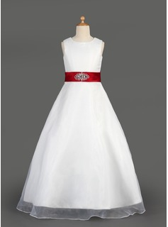 A-Line/Princess Scoop Neck Floor-Length Organza Satin Flower Girl Dress With Sash Beading Bow(s) Cascading Ruffles