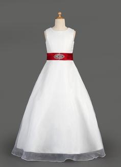 Corte A/Princesa Escote redondo Vestido Organdí Satén Vestido para niña de arras con Fajas Bordado Lazo(s) Cascada de volantes
