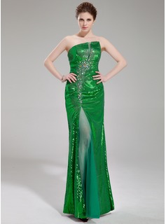 Sheath/Column Scalloped Neck Floor-Length Tulle Sequined Prom Dress With Beading Split Front