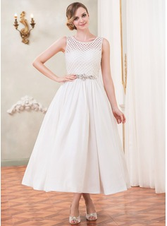 A-Line/Princess Scoop Neck Tea-Length Taffeta Lace Wedding Dress With Beading Sequins