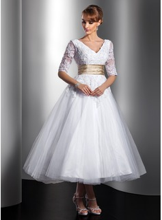 A-Linie/Princess-Linie V-Ausschnitt Knchellang Satin Tll Brautkleid mit Spitzen Schleifenbnder/Stoffgrtel Perlen verziert (002014739)