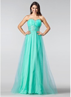 A-Line/Princess Sweetheart Floor-Length Taffeta Tulle Prom Dress With Ruffle Beading