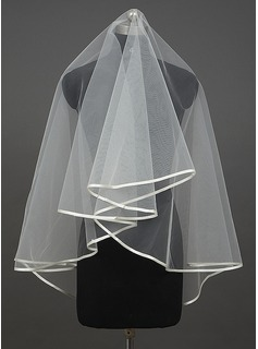 One-tier Elbow Bridal Veils/Fingertip Bridal Veils With Ribbon Edge