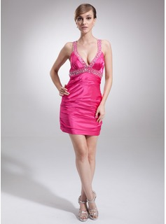 Sheath V-neck Short/Mini Charmeuse Cocktail Dress With Ruffle Beading (016021229)