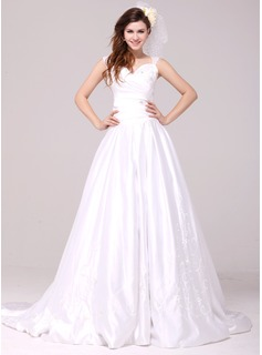 A-Line/Princess Sweetheart Court Train Satin Wedding Dress With Embroidery Beadwork