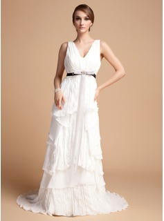 A-Line/Princess V-neck Sweep Train Chiffon Organza Charmeuse Wedding Dress With Lace Sash Beading Cascading Ruffles Pleated