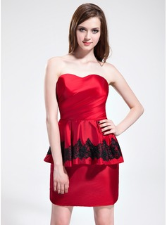 Sheath Sweetheart Short/Mini Taffeta Cocktail Dress With Ruffle Lace