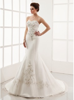 Trumpet/Mermaid Sweetheart Chapel Train Organza Satin Wedding Dress With Embroidery Beading