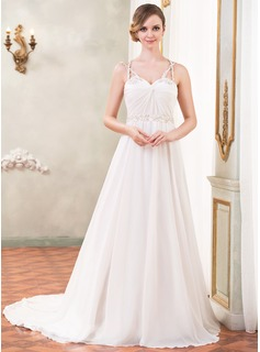 A-Line/Princess Sweetheart Cathedral Train Chiffon Satin Tulle Wedding Dress With Ruffle Beading Sequins