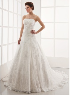 A-Line/Princess Strapless Cathedral Train Satin Lace Wedding Dress With Beadwork