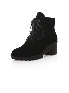 Real Leather Chunky Heel Ankle Boots With Lace-up shoes (088039958)