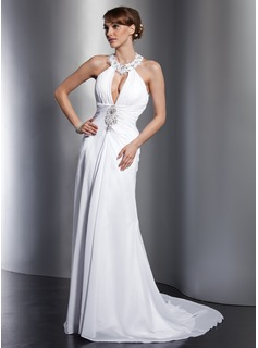 A-Line/Princess Halter Court Train Chiffon Wedding Dress With Ruffle Lace Beadwork Sequins (002012762)