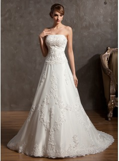 A-Line/Princess Strapless Chapel Train Satin Tulle Wedding Dress With Lace Beadwork