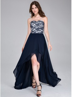 A-Line/Princess Sweetheart Asymmetrical Chiffon Prom Dress With Lace