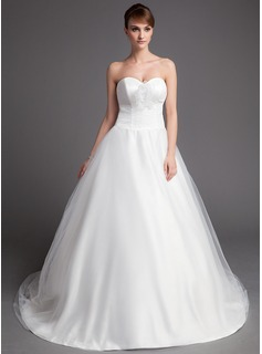 Ball-Gown Sweetheart Chapel Train Satin Tulle Wedding Dress With Ruffle Flower(s) (002001176)