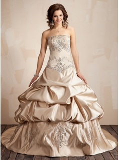 Ball-Gown Strapless Chapel Train Satin Wedding Dress With Embroidery Ruffle Sequins